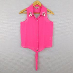 Decree Pink Sleeveless Top with Cutout Size Small
